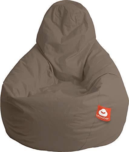 """WHOOBER \""""Barça Outdoor-Sitzsack Taupe - Ø 84 cm (Höhe: 146 cm) - für Drinnen & Draußen - komfortable Birnenform/Tropfenform - Waschbar - Langlebige Qualität"""