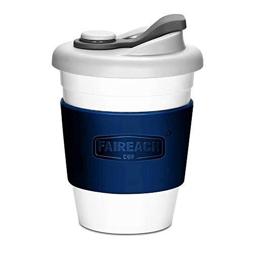 Faireach Coffee to Go Becher 340ml / 12oz, Mehrweg Kaffeebecher mit Deckel für Kaffee & Tee, Eco Reisebecher Cafe, BPA-frei, Spülmaschinenfest & Mikrowellengeeignet, Marineblau