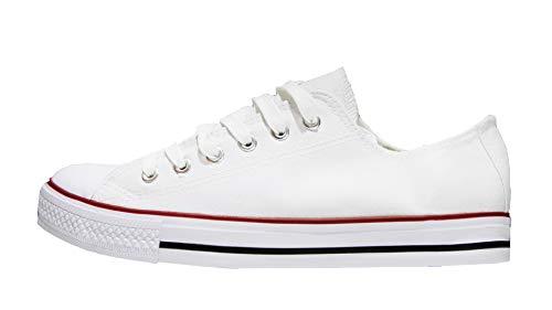 Mapleaf - Zapatos con suela de caucho auténtico, simple y clásico para hombres y mujeres, (Blanc Classique), 41 EU X-Étroit