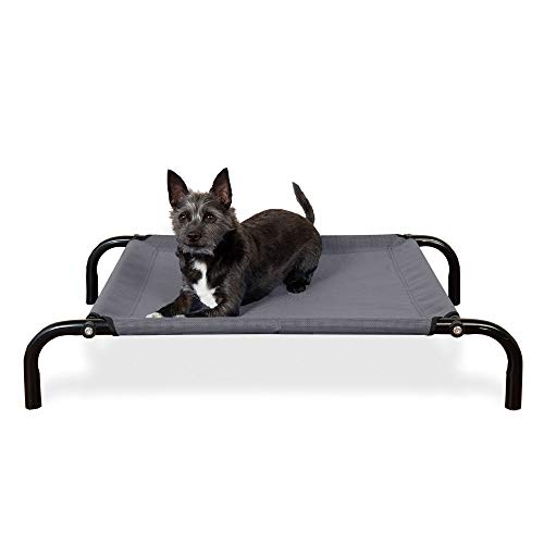 Furhaven Pet Dog Bed - New and Improved Reinforced Breathable Cooling Mesh Outdoor Elevated Pet Cot Bed for Dogs and Cats, Gray, Extra Small