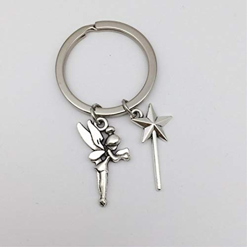 N/ A Tinkerbell Keychain Star Stick Schlüsselanhänger Tinkerbell Jewelry, Fantasy Charm, Pixie Dust