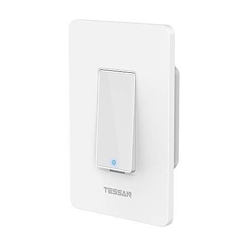 Smart Light Switch, TESSAN Smart Wifi Light Switch Compatible with Alexa, Google Home and IFTTT, No Hub Required, Easy Installation