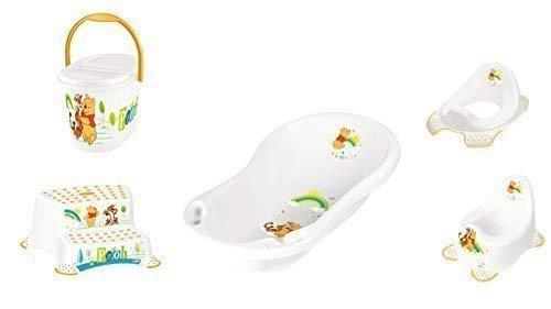 Disney Winnie Pooh weiß 5er Z Set Badewanne + Töpfchen + WC Aufsatz + Hocker zweistufig + Windeleimer Neu