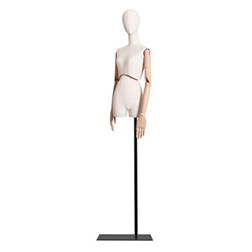 HAIPENG Maniquí De Costura Busto Hembra Cuerpo Vestido con 3 Secciones Articulación Brazos De Madera Ajustar Soporte por Ropa Joyería Monitor (Color : Black)