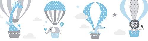 lovely label Bordüre selbstklebend HEISSLUFTBALLONS BLAU/GRAU - Wandbordüre Kinderzimmer/Babyzimmer mit Tieren - Wandtattoo Schlafzimmer Mädchen und Junge – Wanddeko Baby/Kinder