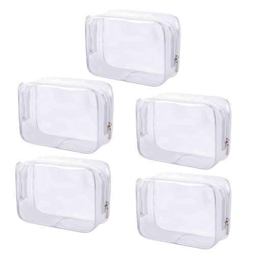 Transparent Kosmetiktasche 5 stück PVC Kulturbeutel mit Reißverschluss wasserdichte Kosmetische Make-up Tasche für Reise Geschäft Urlaub Bad Organisieren 16.5 x 5 x 11.5 cm