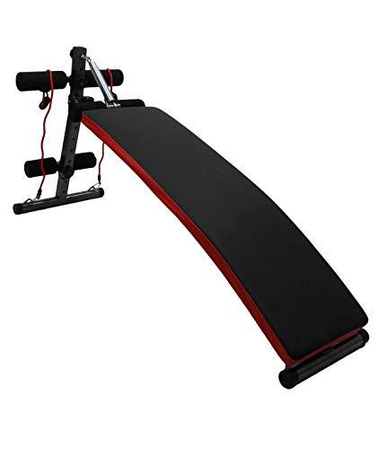 MaxxToys - Banco de fitness ajustable - Taburete de pesas multifuncional - Banco de entrenamiento - 150 x 27 x 71 cm - Negro y rojo