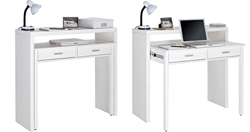 Skraut Home - Bureau Informatique Extensible, Table d´appoint de Studio pour Ordinateur, 2 tiroirs, Blanc, 98,6x86,9x36-70cm.