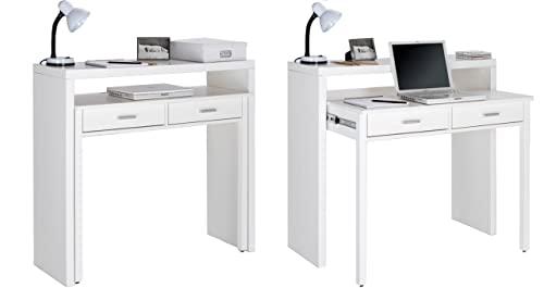 Skraut Home - Ausziehbarer Schreibtisch, Studio-Konsolentisch, Computertisch, 2 schubladen, Oberfläche mattWeiß, 98,6x86,9x36- 70cm