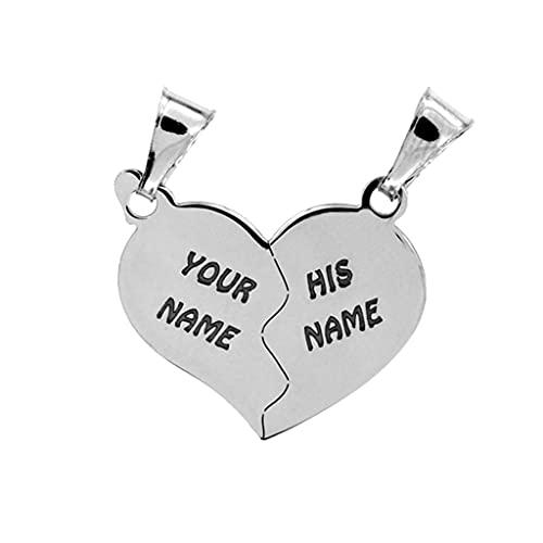 Cuore che si divide in due ciondolini a forma di mezzo cuore, in argento 925, sia per collana che per bracciale. Incisione gratuita.