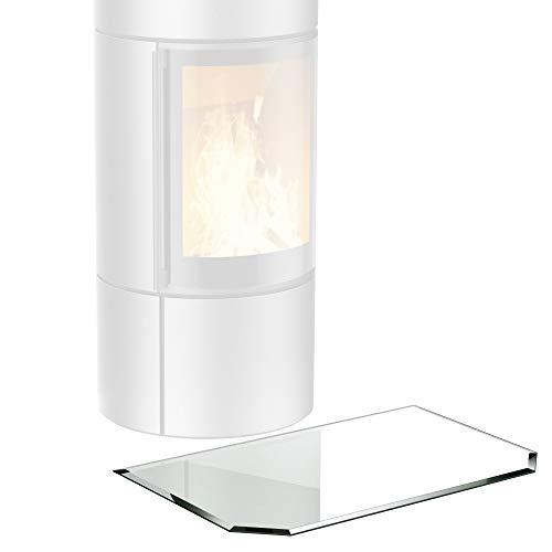 bijon® Funkenschutz-Platte mit Facettenschliff   Glasplatte Kaminofen   Kaminschutz mit ESG Sicherheitsglas   Kamin Zubehör   Kamin Glasplatte   Sechseck 50 x 100 cm   6mm