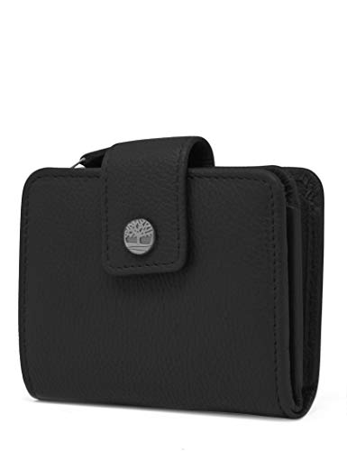 Timberland womens Leather RFID Small Indexer Wallet Billfold, Black, One Size US