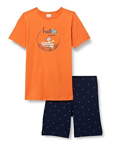 Schiesser Jungen Rat Henry Schlafanzug kurz Pyjamaset, orange, 128