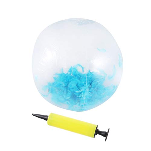 Amosfun transparente aufblasbare Kugel Glitzer Spielen Strand Federball Foto Requisiten Spielzeug dekorative Ballon Party gefallen mit Pumpe (himmelblaue Federn 60cm)