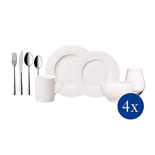 Villeroy & Boch - Twist White Geschirr-Set, 36 tlg., zeitloses Geschirrservice, Premium Porzellan, spülmaschinengeeignet
