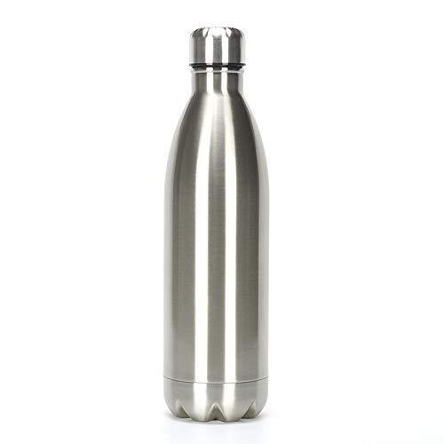 Botella de agua aislada de acero inoxidable de 1 litro, botellas de agua con aislamiento elegante, mantiene el calor y el frío, tapas 100% a prueba de fugas (plata, 1 L)