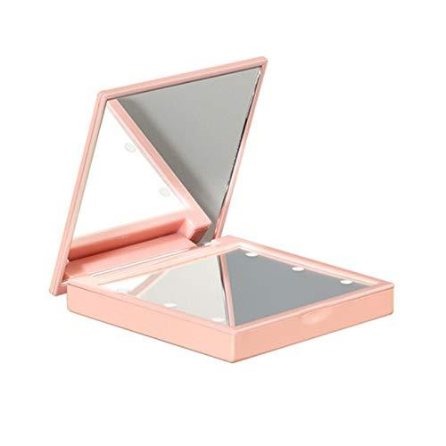 Espejo con luz LED, Espejo Compacto Plegable de Doble Cara de 2.8 × 2.8 Pulgadas, Uso para niñas, Mujeres o Maquillaje Profesional, Rosa