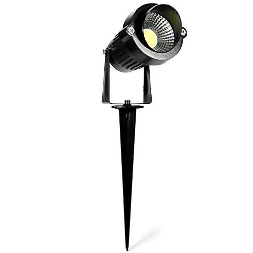 Foco de jardín LED con estaca, IP65, iluminación de jardín, con corriente de 230 V, para iluminación de árboles, exterior de 5 W, juego de 1 unidad