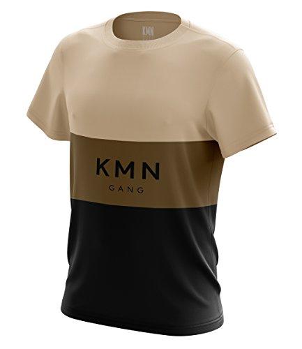 KMN Gang T-Shirt Stripes beige/braun/schwarz, Farbe:beige/braun/schwarz, Größe:S