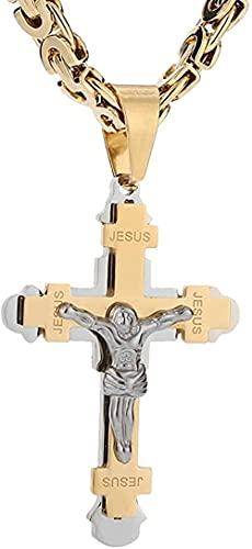 NC198 Collar con Colgante de Cruz de Dos Tonos de Acero Inoxidable con Cadena bizantina para Hombres y niños de 8 5 MM de Ancho
