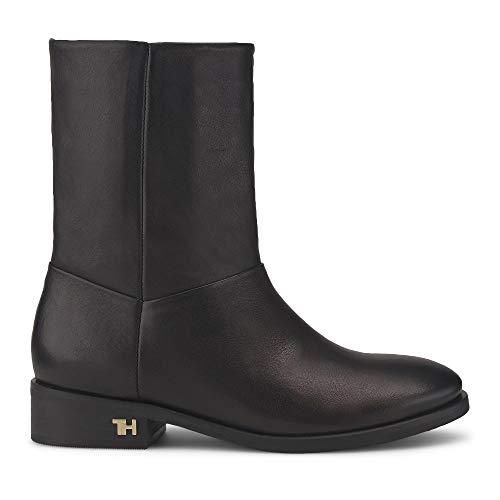 Tommy Hilfiger Damen Mono Color Flat Boot Stiefeletten, Schwarz (Black Bds), 37 EU