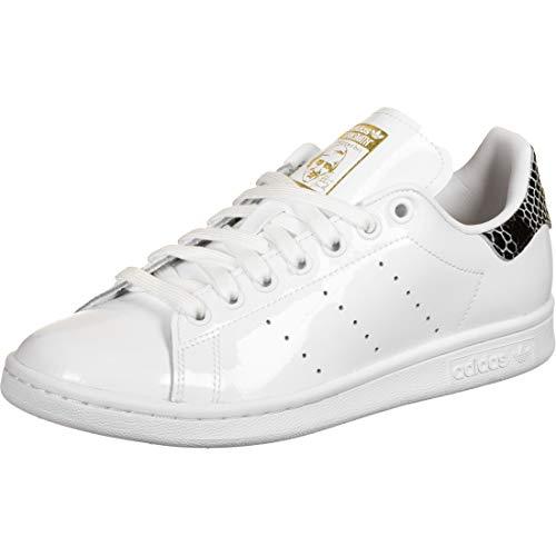 adidas Womens Stan Smith Sneaker, Footwear White/Core Black/Gold Metallic, 40 EU