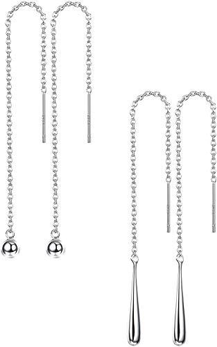 Adramata 2Pares de Plata Esterlina 925 Ball Drop Dangle Pendientes de Cadena Larga para Mujeres Niñas Threader Tassel Thread Earrings Setngs para Mujeres Niñas Set
