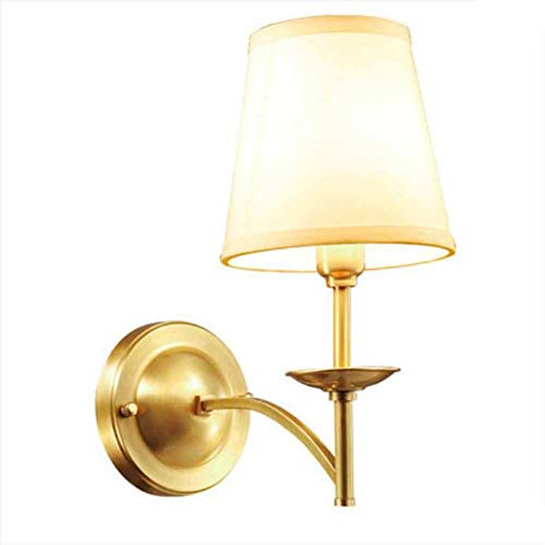 BJYG - Aplique de pared de cobre con lámpara de salón minimalista moderna, restaurante, de tejido de cobre y LED, lámpara de pared para lámpara de pared de pasillo, salón o cham