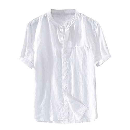 Coolster Sommer Flachs Strand T-Shirt für Männer Atmungsaktiver Stoff Cardigan Hemd mit Knopfleiste Vorne Kurzarm einfarbig Tops T-Shirt Sweatshirt Oberteile T-Shirt Sweatshirt