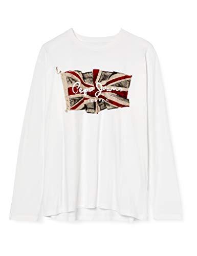 Pepe Jeans Flag Logo LS Camiseta, 803off White, XXL para Hombre