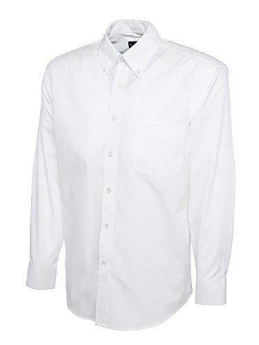 Hommes Pinpoint Oxford Chemise Manches Longues Poche Poitrine Travail Affaires sécurité UC701 - Blanc, 85% peigné 15% polyester, Homme, L
