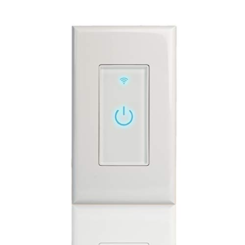 Smart Wi-Fi Light Switch, Alexa Google Home IFTTT Compatible, iOS Android Smartphone Wireless Remote Control, No Hub Required, Timer Function, Touch Switch On Off, In-Wall, 1 Gang, 15A (White Touch)