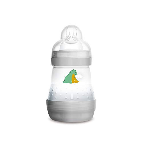 MAM Easy Start Anti-Colic Bottle, 5 oz (1-Count), Newborn Essentials, Slow Flow Bottles with Silicone Nipple, Unisex Baby Bottles, White