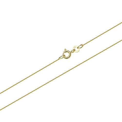 NKlaus 42cm Serpente Catena Catena in Oro 0,7mm 333 Collana in Oro Giallo Collana placcata con Diamanti 1,60g 9451