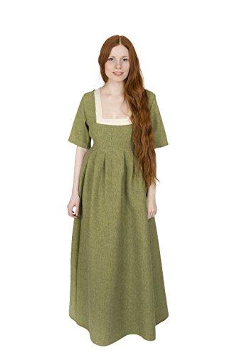Burgschneider Vestido de Mujer Medieval Robe Frideswinde Manga Corta algodón Verde - M