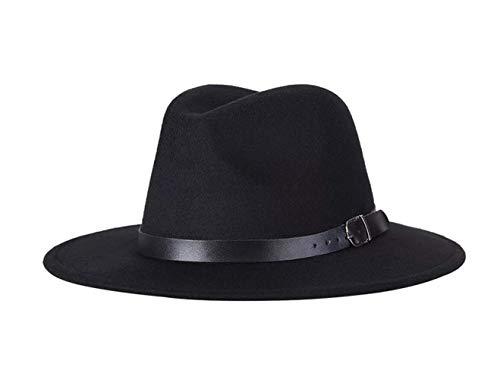 QUUPY Cappello Fedora classico a tesa larga con fibbia per cintura in feltro Panama per donne e uomini (rosso), Unisex - Adulto, FBA-QUS26490BLACK, Nero , 6 7/8-7 1/8