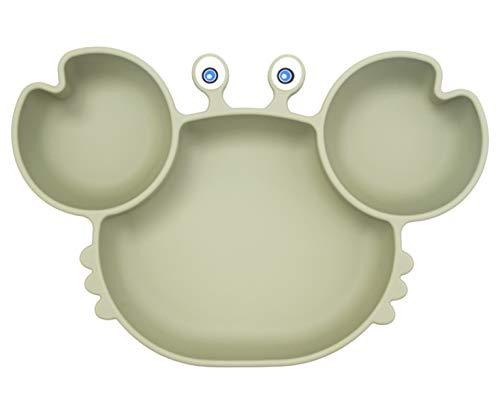 Assiette à pour Bébé Silicone, Plaque d'alimentation Antidérapante pour Tout-petits Les Enfants avec une Forte Aspiration, Adapté au Lave-vaisselle et au Four à micro-ondes (Crab-Tea Green)