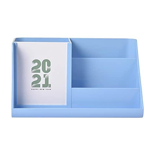 Hearthxy Organizador de escritorio de plástico, soporte para bolígrafos, caja de almacenamiento, calendario de mesa 2021, caja para bolígrafos, organizador de escritorio para escuela, hogar, oficina