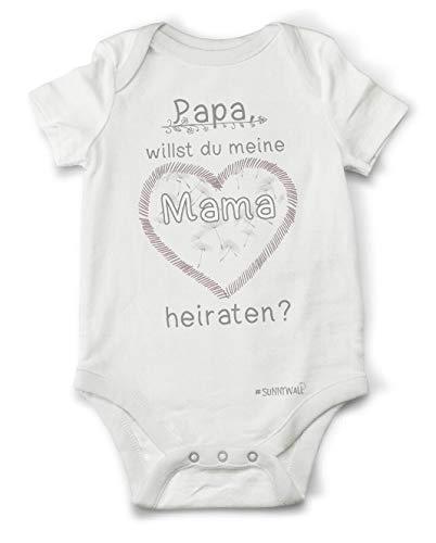 Sunnywall Papa willst du Meine Mama heiraten? | Baby Body Strampler Bodysuite 100% Bio Baumwolle Unisex Größe 06/12 Monate (74)