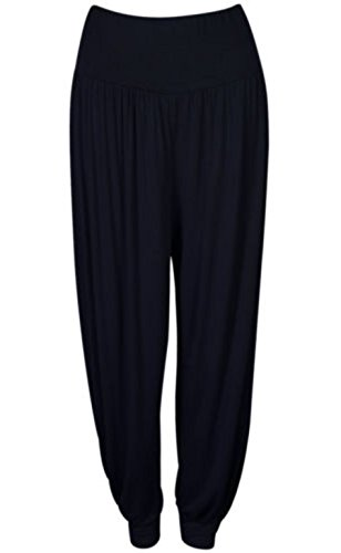 Women Full Length Cuffed Ankle Harem ALI Baba Baggy Pants Trouser (20/22, Black)