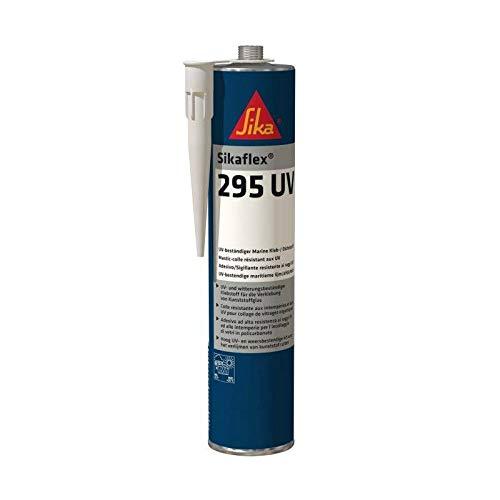 Sikaflex 295 UV, Adhesivo para el pegado y sellado de acristalamientos plásticos en botes y barcos, Negro, 300ml