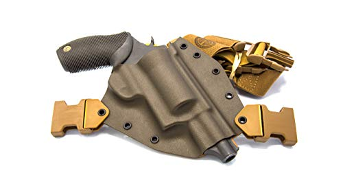 """GunfightersINC Kenai Chest Holster for Taurus Judge 2.5"""" or 3"""" Cyl, MAS Grey/Coyote, Right Hand"""