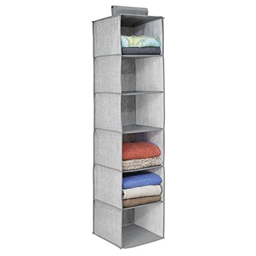 mDesign – Organizador de ropa para armarios con 6 estantes – Organizador de tela para colgar – Colgador de armario para...