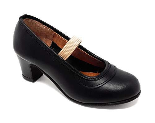 MALACA M-10 Box, Zapato Baile Flamenca Profesional para niña de Piel con Clavos en Puntera y tacón. (32 EU, Negro)