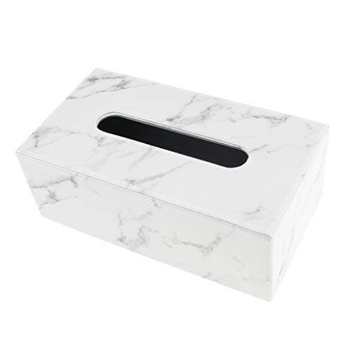 PUレザー ティッシュボックス カバー ナプキンケース ホルダー オーガナイザー 多色 - マーブル, L