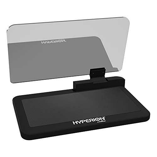 Hyperion Smartphone HUD Head Up Display Holder with Non-Slip Grip, 6 Inches Reflective and Repositioning Display for Optimal Viewing Angles.