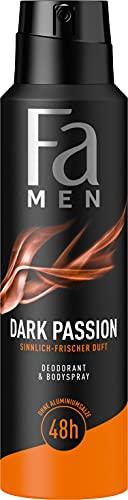 Fa Men Deodorant & Bodyspray Dark Passion mit sinnlich-frischem Duft, 48h Schutz, 150 ml