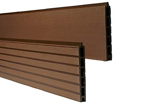Muster WPC Zaun/Sichtschutz/Steckzaun, 20 x 150 mm, Einfaches Modulares Zaunsystem in braun (Serie WoodoTexel)