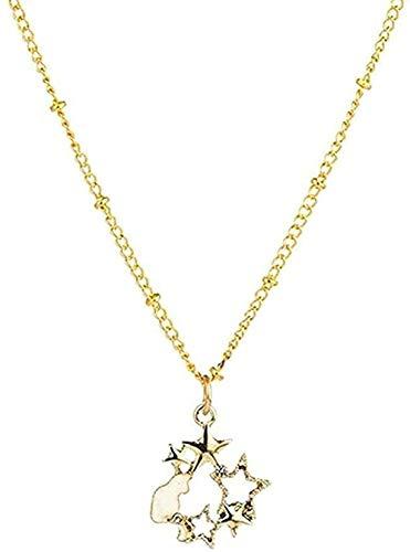 Yiffshunl Collar Dulce Dulce Collar Romántico Forma de Estrella y Luna Collares Pendientes para Mujeres y Niños Collares Accesorios Moda