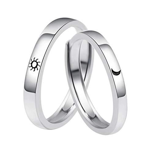 Fovor Regalos de decoración de San Valentín, 2 anillos para parejas, diseño de luna y sol, anillos ajustables para parejas, anillos de compromiso